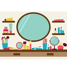 Mirror shelves and dressing table with make up vector image