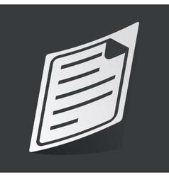 Monochrome document sticker vector image