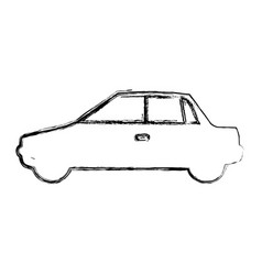 Monochrome sketch with automobile in side view vector
