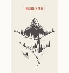 mountain peak fir forest hand drawn sketch vector image