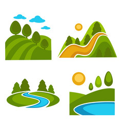 Nature landscape logo templates for green ecology vector