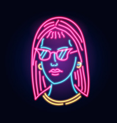 neon girl in glasses fashion sign night light vector image