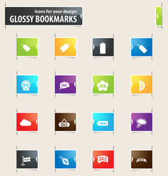 New stiker and label bookmark icons vector