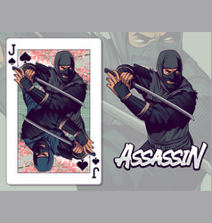 Ninja for jack spades playing card design vector