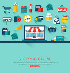 Online shopping concept background with place for vector image