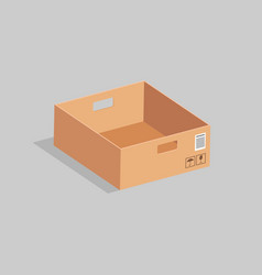 Open cardboard box on a gray background vector