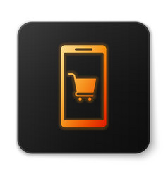 orange glowing mobile phone and shopping cart icon vector image