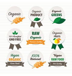 Organic and Vegan food labels vector image