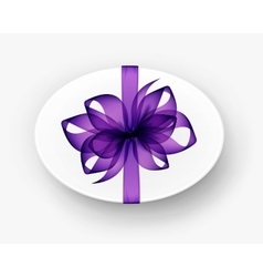 Oval gift box with purple bow and ribbon isolated vector