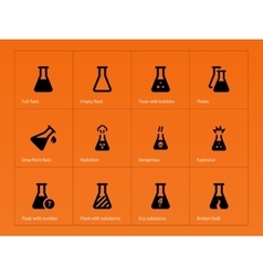 Pharmacy flask icons on orange background vector image