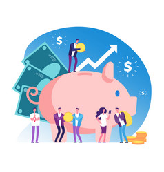 Piggy bank and people deposit money bank wealth vector
