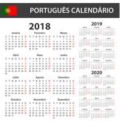Portuguese calendar for 2018 2019 and 2020 vector