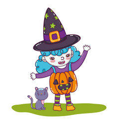 Pumpkin girl costume wearing hat with cat vector