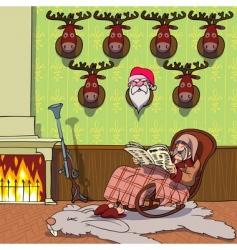Santa and deer background vector