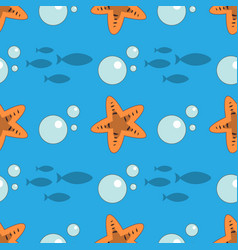 Seamless fish and starfish pattern sea background vector