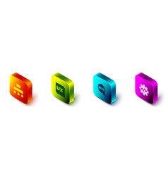Set isometric site map ui or ux design web and vector