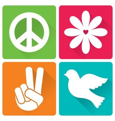 Set of 4 in flat design peace and antiwar theme vector