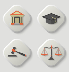 Set of icons of a judicial subject vector