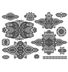 set of ornamental floral adornment black and white vector image