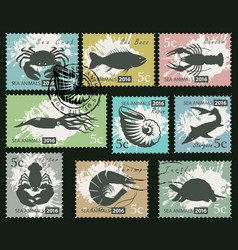 set postage stamps with underwater sea animals vector image