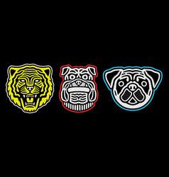 set retro animal faces vintage tiger pug vector image