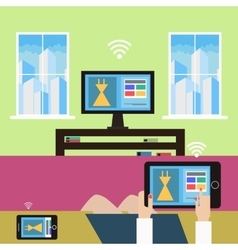 Shopping from home modern technology vector image