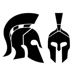 Silhouette spartan helmets vector