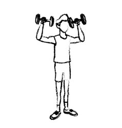 Sketch man lifting weight gym sport vector