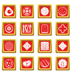 Slice food ingredient icons set red vector