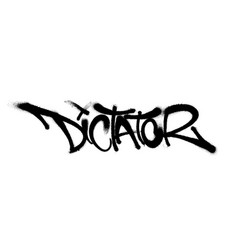 Sprayed dictator font graffiti with overspray in vector