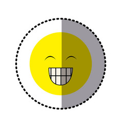 Sticker colorful emoticon face happines expression vector