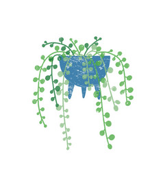 String pearls houseplant flat vector