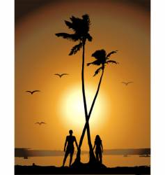sunset on the beach vector image
