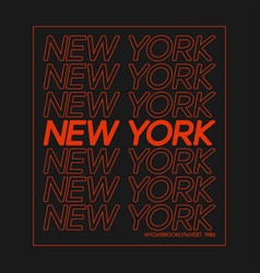 t-shirt design with outline text new york vector image