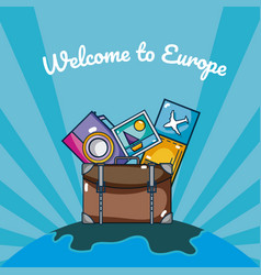 Travel and discover europe cartoons over striped vector