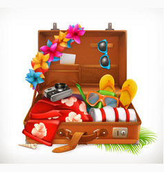 tropical holidays summer vacation open suitcase vector image