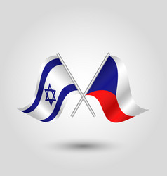 two crossed israeli and czech flags vector image