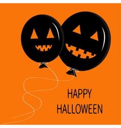 Two cute cartoon funny black balloon pumpkin with vector