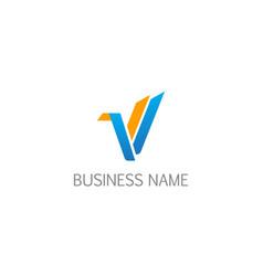 v letter shape design logo vector image