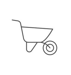 Wheel barrow line outline icon vector