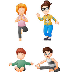 yoga kids collection set vector image