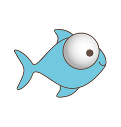 blue fish with big eyes icon vector image
