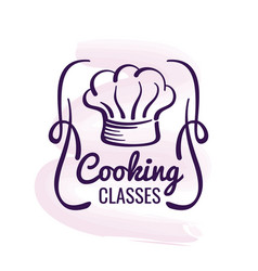 cooking logo design with watercolor decor - vector image vector image