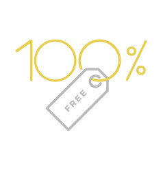 one hundred percent free label vector image vector image