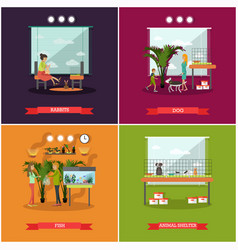 set of pets posters in flat style vector image vector image