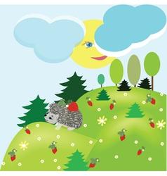 summer fantasy landscape with hedgehog vector image