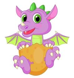 Baby dinosaur cartoon hatching vector image vector image