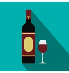 Red wine bottle and glass icon flat style vector image