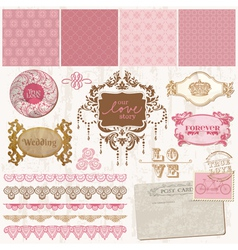 Scrapbook design elements - Vintage Wedding Set vector image vector image
