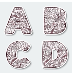 Set of capital letters A B C D from the alphabet vector image vector image